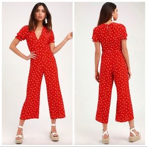 FAITHFULL THE BRAND Mallory Red Print Jumpsuit